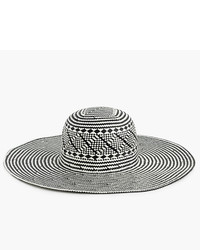J.Crew Wide Brim Geometric Straw Hat