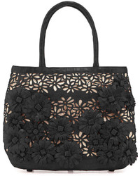 Panama floral cutout straw basket tote bag black medium 243744
