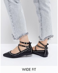 Asos Livewire Wide Fit Studded Ballet Flats
