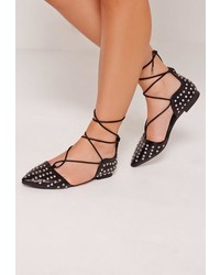 Missguided Studded Lace Up Ballerina Shoes Black