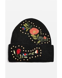 Studded floral beanie hat medium 6465207