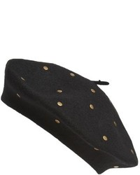 Studded Wool Blend Beret Black
