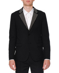 Alexander McQueen Studded Lapel Two Button Jacket Black