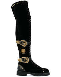 Fausto Puglisi Buckle Studded Boots