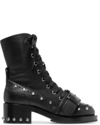 No.21 No 21 Studded Textured Leather Biker Boots Black