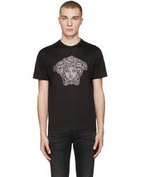 Versace Black Studded Medusa T Shirt