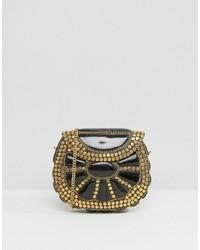 Park Lane Black Enamel And Gold Studded Cross Body Bag