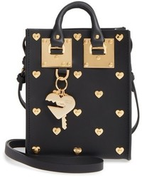 Sophie Hulme Nano Heart Studded Crossbody Bag Black