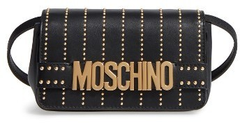 Moschino Studded Logo Crossbody Bag Black