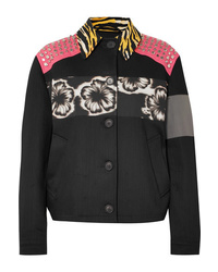 Prada Studded Printed Canvas And Denim Jacket