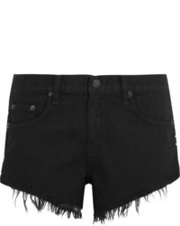 Rag & Bone Cut Off Studded Denim Shorts Black