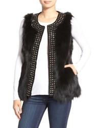 Jocelyn Stars Studded Genuine Fox Fur Vest