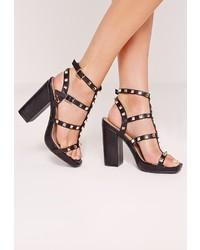 Missguided Studded Block Heel Sandal Black