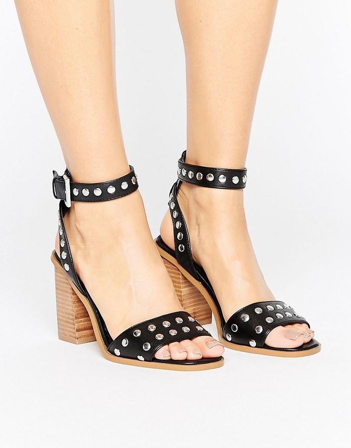 Asos Texas Studded Block Heel Sandals
