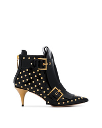 Alexander McQueen Black 75 Studded Patent Leather Boots