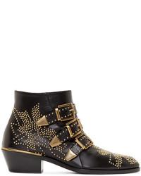 Chloé Black Gold Studded Susanna Boots