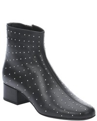 Saint Laurent Black Leather Babies 40 Studded Boots