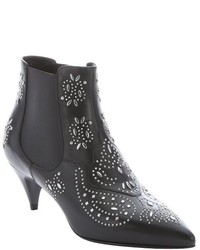 Saint Laurent Black Leather Cat Studded Ankle Boots