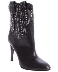 Saint Laurent Black Leather Debbie Studded Detail Boots