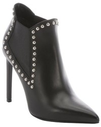 Saint Laurent Black Leather Studded Chelsea Ankle Booties