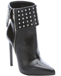 Saint Laurent Black Leather Studded Paris Stiletto Ankle Boots