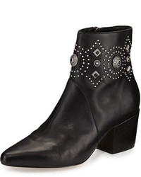 Sigerson Morrison Cailyn Studded Leather Ankle Boot Black
