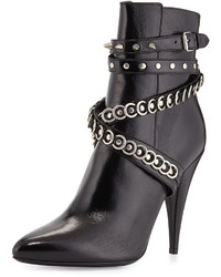 Saint Laurent Chain Wrapped Tumbled Leather Boot Black