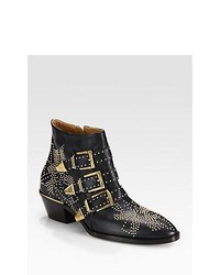 Chloé Chloe Susanna Studded Leather Buckle Ankle Boots Navy