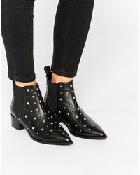 Asos Collection Right Off Leather Pointed Ankle Boots