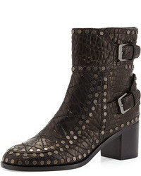 Laurence Dacade Gatsby Wrinkled Studded Ankle Boot Blackruthenium