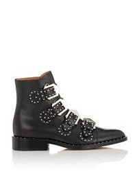 Givenchy Studded Buckle Strap Ankle Boots Black