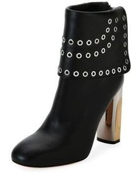 Alexander McQueen Grommet Studded Leather Bootie Black