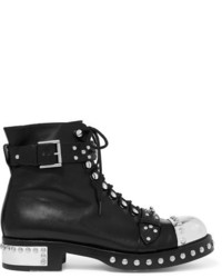 Alexander McQueen Hobnail Studded Leather Ankle Boots Black