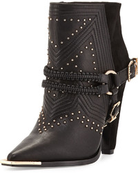 Ivy Kirzhner Spurs Harness Leather Ankle Boot Black