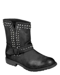 Journee Collection Studded Buckle Detail Boots Black Boots