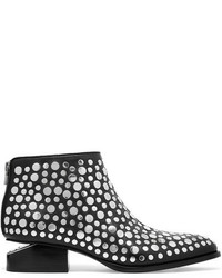 Alexander Wang Kori Cutout Studded Leather Ankle Boots Black
