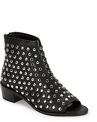 Loeffler Randall Studded Open Toe Leather Booties