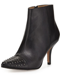 Neiman Marcus Kelcy Studded Leather Bootie Black