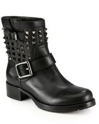 Valentino Noir Rockstud Leather Biker Boots