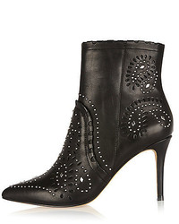River Island Black Leather Studded Laser Cut Ankle Boots