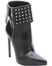 Saint Laurent Black Leather Studded Paris Stiletto Ankle Boots