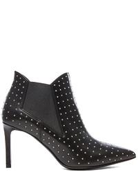 Saint Laurent Paris Studded Pointy Toe Leather Booties