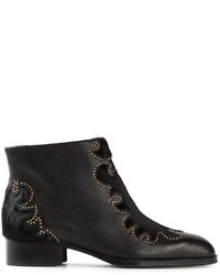 See by Chloe See By Chlo Studded Calf Hair And Leather Ankle Boots