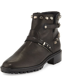 Stuart Weitzman Gowest Studded Leather Ankle Boot Black