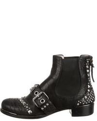 Miu Miu Stud Embellished Ankle Boots
