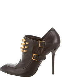 Gucci Stud Embellished Leather Bootiesa