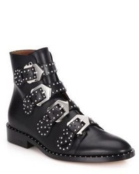 Givenchy Studded Leather Buckled Ankle Boots