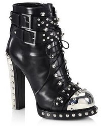 Alexander McQueen Studded Leather Lace Up Buckle Booties