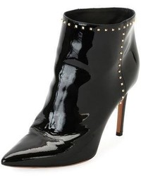 Valentino Studded Patent Ankle Boot Black