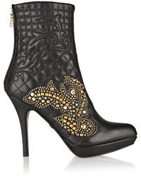 Versace Studded Quilted Leather Ankle Boots
